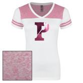 Ladies White/Heathered Pink Juniors Varsity V Neck Tee-Split P Foil