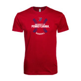 Next Level SoftStyle Cardinal T Shirt-Pennsylvania Baseball Seams