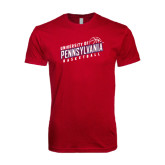 Next Level SoftStyle Cardinal T Shirt-Pennsylvania Basketball Slanted