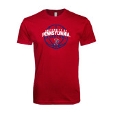 Next Level SoftStyle Cardinal T Shirt-Pennsylvania Basketball in Ball