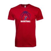 Next Level SoftStyle Cardinal T Shirt-Penn Basketball Stacked w/ Ball