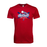Next Level SoftStyle Cardinal T Shirt-Softball w/ Crossed Bats