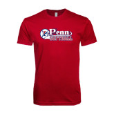 Next Level SoftStyle Cardinal T Shirt-Penn Softball Script