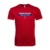 Next Level SoftStyle Cardinal T Shirt-Pennsylvania Track & Field Banner