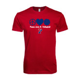 Next Level SoftStyle Cardinal T Shirt-Peace Love & Volleyball