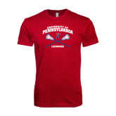 Next Level SoftStyle Cardinal T Shirt-Lacrosse w/ Crossed Sticks