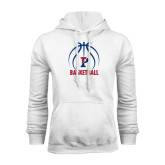 White Fleece Hood-Penn Basketball Stacked w/ Ball