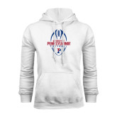 White Fleece Hood-Penn Football Vertical
