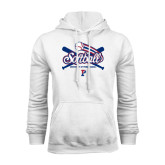 White Fleece Hood-Softball w/ Crossed Bats