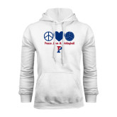 White Fleece Hood-Peace Love & Volleyball