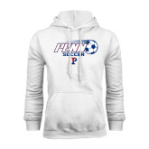 White Fleece Hood-Soccer w/ Flying Ball