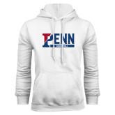 White Fleece Hood-Penn Basketball