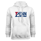 White Fleece Hood-Penn Rowing