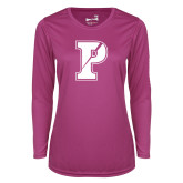 Ladies Syntrel Performance Raspberry Longsleeve Shirt-Split P