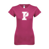 Ladies SoftStyle Junior Fitted Fuchsia Tee-Split P