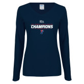 Ladies Navy Long Sleeve V Neck Tee-2017 Womens Cross Country Ivy League Champions