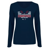 Ladies Navy Long Sleeve V Neck Tee-2020 Womens Track & Field Champs