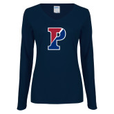 Ladies Navy Long Sleeve V Neck T Shirt-Split P