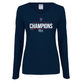 Ladies Navy Long Sleeve V Neck Tee-2018 Mens Fencing Ivy League Champions