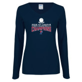 Ladies Navy Long Sleeve V Neck Tee-2018 Mens Basketball Regular Season Champions