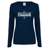 Ladies Navy Long Sleeve V Neck Tee-2018 Womens Track and Field Champions