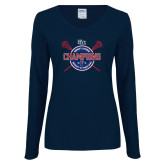 Ladies Navy Long Sleeve V Neck Tee-2018 Womens Lacrosse Championship