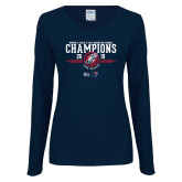 Ladies Navy Long Sleeve V Neck Tee-2019 Womens Track and Field Champions
