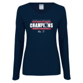 Ladies Navy Long Sleeve V Neck Tee-2019 Womens RS Basketball Champions
