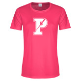 Ladies Performance Hot Pink Tee-Split P