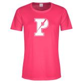 Ladies Performance Hot Pink Tee-Split P