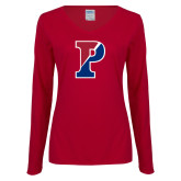 Ladies Cardinal Long Sleeve V Neck Tee-Split P