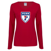 Ladies Cardinal Long Sleeve V Neck Tee-PENN Shield