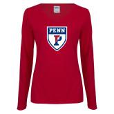 Ladies Cardinal Long Sleeve V Neck T Shirt-PENN Shield