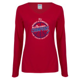 Ladies Cardinal Long Sleeve V Neck Tee-2018 Ivy League Mens Basketball