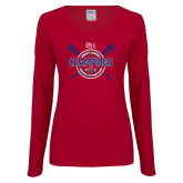 Ladies Cardinal Long Sleeve V Neck Tee-2018 Womens Lacrosse Championship