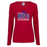 Ladies Cardinal Long Sleeve V Neck Tee-Big 5 Champions 2019