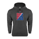 Charcoal Fleece Hood-Bleed Red & Blue
