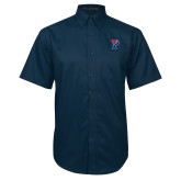Navy Twill Button Down Short Sleeve-Split P
