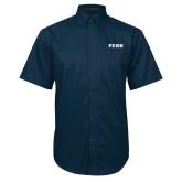 Navy Twill Button Down Short Sleeve-PENN