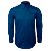 Navy Twill Button Down Long Sleeve-PENN Wordmark