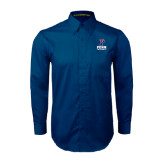 Navy Twill Button Down Long Sleeve-Football
