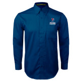 Navy Twill Button Down Long Sleeve-Cheerleading