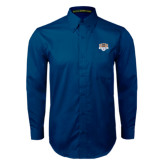 Navy Twill Button Down Long Sleeve-The Palestra