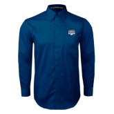 Navy Twill Button Down Long Sleeve-Franklin Field