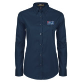 Ladies Navy Twill Button Down Long Sleeve-Penn Band