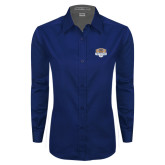 Ladies Navy Twill Button Down Long Sleeve-The Palestra