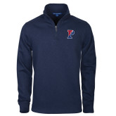 Navy Slub Fleece 1/4 Zip Pullover-Split P