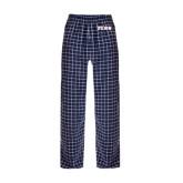 Navy/White Flannel Pajama Pant-PENN Wordmark