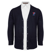 Navy V Neck Cardigan w/Pockets-Split P