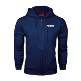 Navy Fleece Full Zip Hood-PENN Wordmark